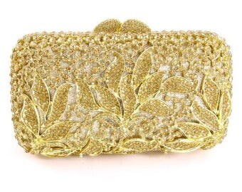 Crystal Leaf Clutch Bag
