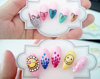 Faux Ongles Pré-décorés Fait a la main 10Tips Nail Art False Nails