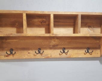 Rustic Looking Coat Rack With Cubby Storage