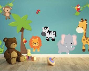 Jungle Theme Kids Wall Decals   Jungle Kids Wall Stickers   Kids Wall Art    Jungle