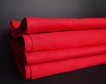 Red Linen Napkins set of 4, 6 or 8, Linen, Cotton Napkins, Variuos size,  Table decoration, Dining, Christmas Red Napkins