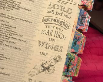 Bible Tabs, Double Sided, Choice of font, 8 extra tabs