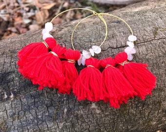 Red Rose Quartz fringe hoops