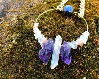 Quartz, Labradorite, Amethyst and Moonstone necklace