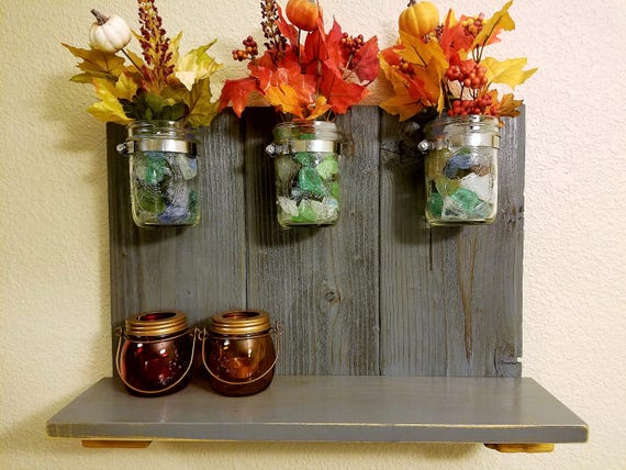 Rustic Upcycled Mason Jar and Pallet and Wood Organizer Shelf