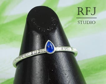 Pear Cut Synthetic Sapphire Textured Silver Ring, Stacking Blue September Birthstone Ring Teardrop Blue Sapphire 3x2 mm Tiny 925 Silver Ring