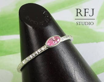 Oval CZ Pink Diamond Textured Silver Ring, Stackable Tiny Pink CZ Ring, Oval Cut Simulant Pink Diamond Ring, Oval Pink Cubic Zirconia Ring