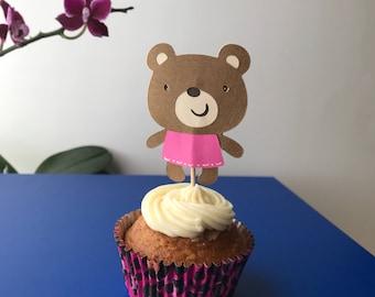 Teddy bear cupcake topper, teddy bear baby shower decorations, teddy bear birthday party decor, Baptism, Christening, First Communion