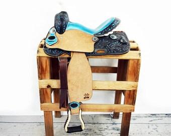 "Custom 14"" Metallic Turquoise Rough Out Handmade Western Horse Pleasure Trail leather Saddle"