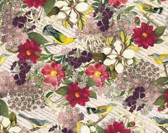 """Tissue Paper ,Botanic Gift Wrap Paper,  20"""" x 30"""" 10 sheets of  Tissue Paper , Made in USA, Vintage Look"""