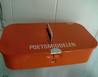 Brabantia shoeshine box, shoe-shine look, shoes grooming box, Orange 70 's retro vintage