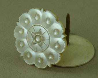 Carved Mother of  Pearl Sewing Silk Thread Spool Cotton Reel Holder MOP Antique