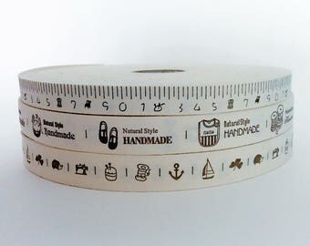 Classic cream cotton logo ribbons/ tape measure ribbon/'handmade' label ribbon / crafty logo ribbon