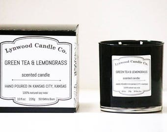 Green Tea & Lemongrass  // Double-Wick  // Candle Gift // Natural Candle // Scented Candle // Summer Candle // Beach Candle