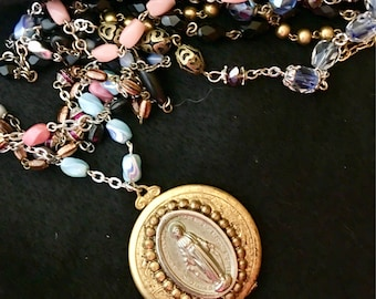 A Thousand More Prayers, vintage assemblage necklace, religious, locket, rosary
