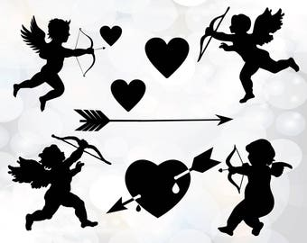 Cupid SVG - Silhouette Studio cutting files - Cupid heart and arrow svg file bundle - Instant Download for commercial use - Cupid love svg