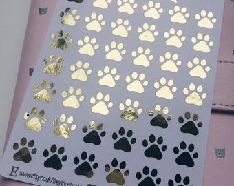 Foil Paw Print Planner Stickers