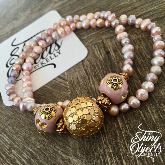 Fresh Water Pearl, Gold and Rose Bauble Necklace