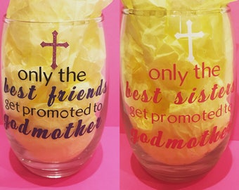 Godmother Gift  will you be my godmother Gift  GodMother Wine glass  GodMother  Godparents gifts