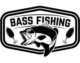 Bass fishing logo etsy for Bass fishing logos