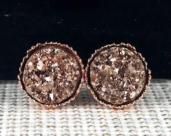 Rose Gold Druzy Earrings - Bridesmaid Gift - Earrings - Rose Gold - Jewelry - Rose Gold Earrings - Rose Gold Jewelry - Flower Girl - Wedding