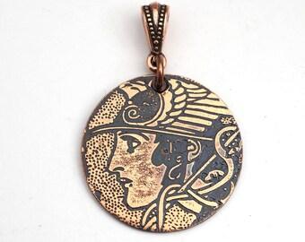 Copper Hermes pendant, Mercury messenger of the gods, Greek mythology, Art Nouveau style round flat etched 28mm