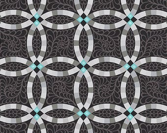 1 yard Black Wedding Rings from Folk Art Fantasy quilt cotton from Amanda Murphy for Contempo Fabrics