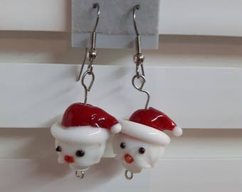 Earrings, Santa Earrings, Christmas Earrings, Santa Head Earrings, Gift, Christmas Gift, Drop Earrings, Dangle Earrings, Holiday Earrings