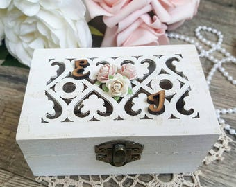 Ring Bearer Box - Shabby White | Wedding Ring Box | Ring Box | White Ring Bearer Box