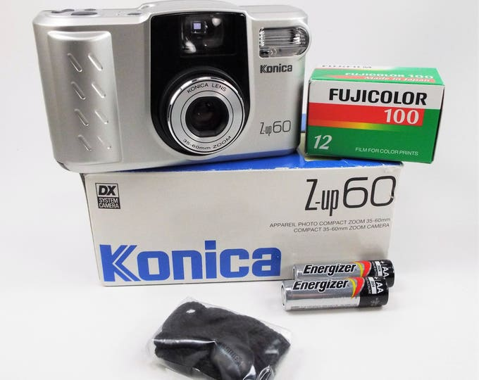 Konica Z-up 60 Compact 35-60mm Zoom Camera Outfit - 35mm Film Camera - New in the Box - Konica Case Strap Papers - Fujicolor Film Included!