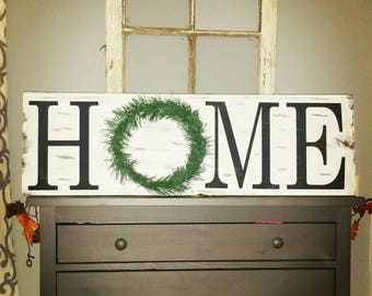 Rustic home sign, wreath home sign, home sweet home, farmhouse home sign, entryway decor,  housewarming