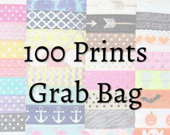 100 Printed Elastic Hair Ties, GRAB BAG, Handmade Hair Tie, Ponytail Holders, Knotted Hair Ties, Yoga Hair Ties, Hair Bands, Wristband