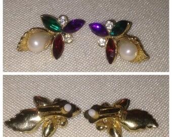 Anniversary Sale Vintage 80's Rhinestone Earrings