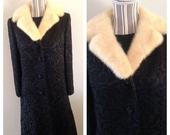 Anniversary Sale True Vintage Black Brocade Dress and Matching Coat with Mink Collar