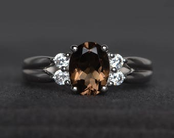 natural smoky quartz ring wedding ring oval cut brown gemstone sterling silver ring for women