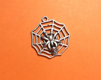 Spider web Charm. Antique Silver Tibetan Charm 32 mm x 2