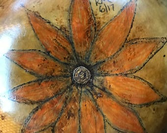 Wood burned sunflower gourd