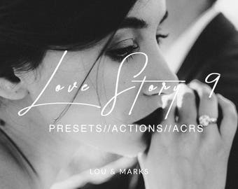 Love Story 9 for Lightroom & Photoshop Actions, Presets, ACRs for Bright Portrait and Modern Moody Wedding Edits in Lightroom Photoshop