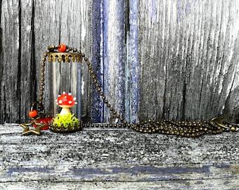 Orange - limited EDITION - mushroom amanita vial necklace
