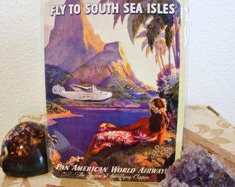 South Sea Isles Post Cards Pan American World Airways Travel Poster c. 1940s Vintage Polynesia Collectible Greeting Card Aloha Hawaii first