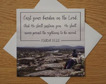 Bible Verse - Quote - Photography Greetings Card - 148 x 148 - Psalm 55 - Blank Inside - Any occasion