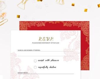 Indian wedding RSVP cards, RSVP for wedding, RSVP for wedding invitations, Wedding rsvp insert, Indian rsvp, Henna rsvp cards, Party rsvp