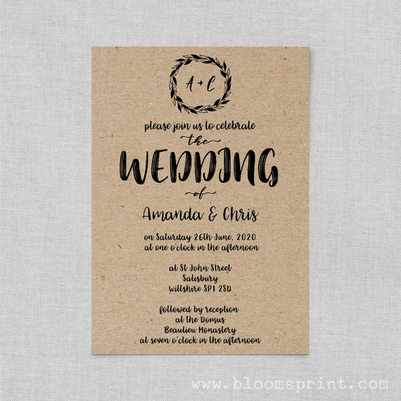 Boho wedding invite set, Classic wedding invitation rustic, Kraft wedding invite set, Wedding invitations recycled paper A5 or A6