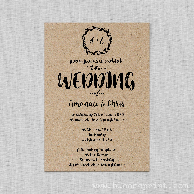 boho wedding invite set classic wedding invitation rustic kraft