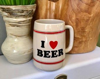 Ceramic Beer Mug / Vintage Beer Stein / I Love Beer Mug /  Beer Cup
