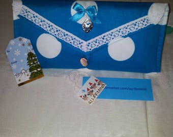 531 SPECIAL Christmas, storage pouch (+ decorated notebook) cotton turquoise satin white polka dot closes with silver button