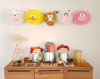 Sheep Party Pompom Decoration/Barnyard 1st birthday Party/Farm Party Decor/Shaun the Sheep/Old McDonald Party/Tissue Paper Pom Pom