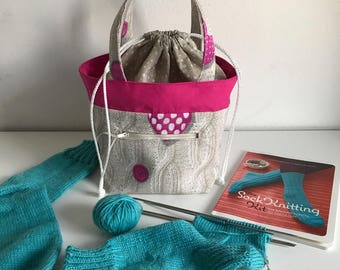 Cable Sock project bag, small knitting  bag, crochet project bag, wip bag, spindle bag, yarn bag, yarn project bag, knitting accessories