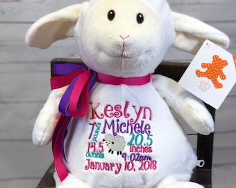 Personalized stuffed lamb, Adoption Gift, First Communion gift, Baptism gift, Stuffed animal, Personalized baby gift, Shower Gift