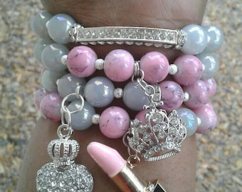 Pink and Silver Bling Stacked Bracelets, Beaded bracelets, Stretch Bracelets, Bling Bracelets, Designer Bracelets, Women's Jewelry